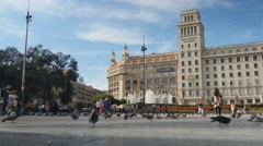 4K Placa de Catalunya Tourists in Barcelona Stock Footage