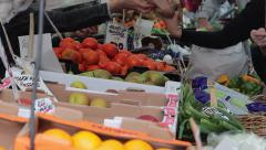Transaction At A Farmers Market Vegetable Stand in Lichfield Stock Footage