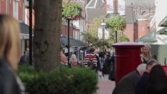 Large Anonymous Crowd Walking Busy Lichfield Town Centre Precinct Street Stock Footage
