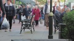 Large Anonymous Crowd Walking on a Busy Lichfield Town Centre Precint Street Stock Footage