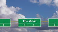 Stock Video Footage of Road sign to The West.