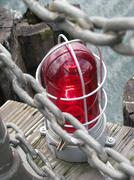 Red light on pier Stock Photos