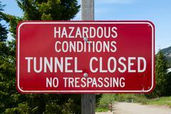 Hazardous conditions sign Stock Photos