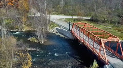 Aerial view of autumn colors along the Huron River Stock Footage