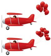Red biplanes towing balloons. Stock Illustration