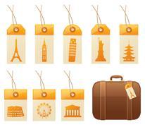 Travel tags Stock Illustration