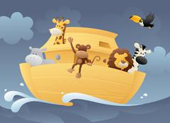 Animals in the ark Stock Illustration