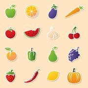 Fruit & veg cutouts Stock Illustration
