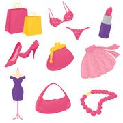 girly accessory icons - stock illustration