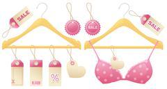 girly hangers - stock illustration