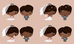 kawaii bride and groom african asian - stock illustration