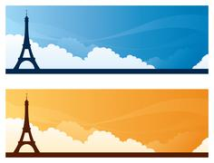 Landmark banners - paris Piirros