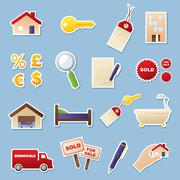 real estate cutouts - stock illustration