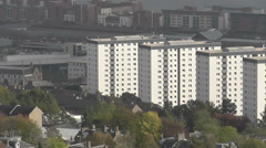 Elevated view of Residential tower blocks and city of Dundee Scotland Stock Footage