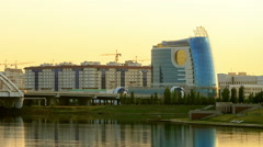 Business center Parus (system units), Sunset. Astana, Kazakhstan Stock Footage