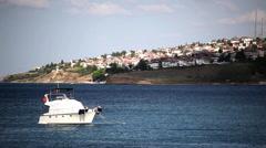 Dancing Yacht at the Marmara Sea Stock Footage