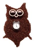 owl, made of coffee seeds and two caps,isolated on white background - stock photo
