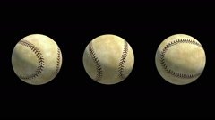 3 Different rotations of Baseball Balls Stock Footage