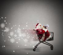 fast santa claus announcement - stock photo