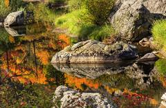 Fall fire orange red colors reflection wenatchee river valley near stevens pa Stock Photos