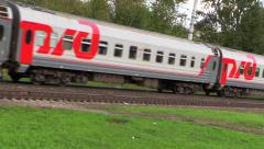 Railroad. The wagons of the passenger train of RZD (Russian railway). Stock Footage