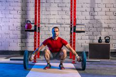 barbell weight lifting man weightlifting workout - stock photo