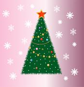 Stock Illustration of good-looking festive fir-tree on a pink background