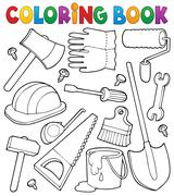 coloring book tools theme - illustration. - stock illustration