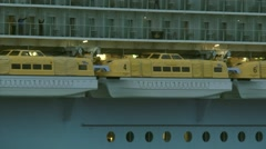 Cruise ship Oasis of the Seas - medium shot lifeboats Stock Footage