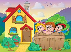 House and fence with children - illustration. Stock Illustration
