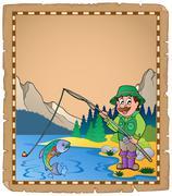 Parchment with fisherman - illustration. Stock Illustration