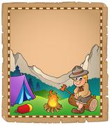 parchment with scout by campfire - illustration. - stock illustration