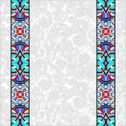 Lace border stripe in ornate floral background, vector illustrat Stock Illustration