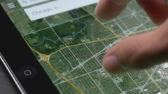 4K Digital Map Searching Tablet Device Stock Footage