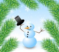 Stock Illustration of amusing snow man and branches of fluffy fir-tree