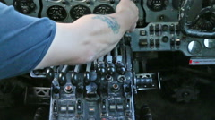 Aircraft panel hand flicks switch 11 Stock Footage
