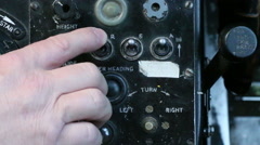 Aircraft panel hand flicks switch 12 Stock Footage