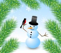 Stock Illustration of amusing snow man with a bird bullfinch and branches of fluffy fir-tree