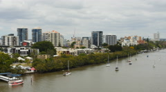 Ferries moving around the Brisbane river TL PAL 4K Stock Footage