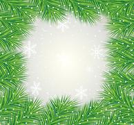 beautiful festive background with the branches of fluffy fir-tree - stock illustration
