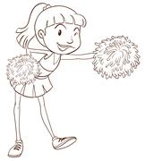 A plain sketch of a cheerer with pompoms - stock illustration