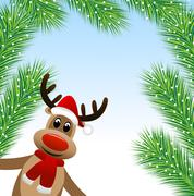 Stock Illustration of amusing deer and branches of fluffy fir-tree