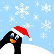 Amusing penguin on a background blue sky Stock Illustration