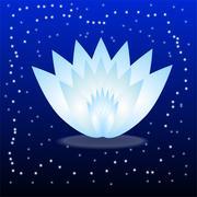 Stock Illustration of gently blue flower on a dark blue background