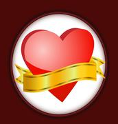 Stock Illustration of bright red heart with a ribbon for text
