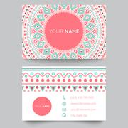 Business card template, blue, white and pink beauty fashion pattern vector - stock illustration