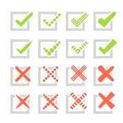 Set of different vector check marks or ticks and crosses Stock Illustration