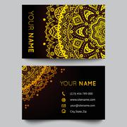 Business card template, black and golden beauty fashion pattern vector design - stock illustration