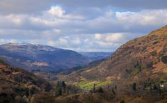 view from moutains above ambleside - stock photo
