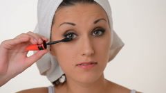 Beautiful girl make-up after bath Stock Footage